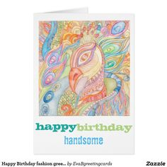 Shop Happy Birthday fashion greeting card created by EvaBgreetingcards. It's Your Birthday, Happy Birthday, Birthday Fashion, Folded Cards, Holiday Cards, Watercolour, Greeting Cards, Seasons, Artwork