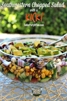 This layered Southwestern Chopped Salad is as pretty as it is delectable!