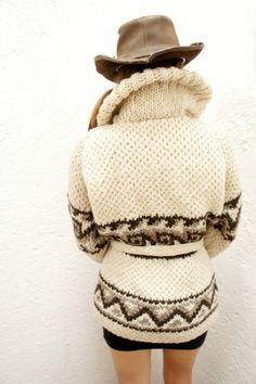 XL Cozy Chic Hand-Knit Mexican Wool Sweater in Cream (Men's or Women's XL Wave Design)). $175.00, via Etsy.