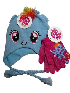 a7d70cfc0d7 My Little Pony Blue Rainbow Dash Knit Peruvian Laplander Hat Pink Sparkle  Gloves Set. Girls