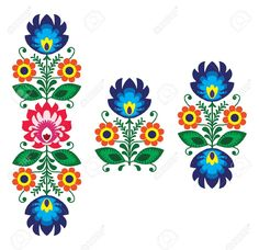 Folk Embroidery With Flowers - Traditional Polish Pattern Royalty Free Cliparts, Vectors, And Stock Illustration. Pic 18622804.