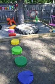Backyard Play Area using wooden log cookies coloured as a path and love the tyre too