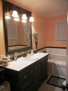 dresser to bathroom vanity, bathroom ideas, home decor, painted furniture, repurposing upcycling, We completely gutted this bathroom