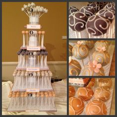 Peach and Gray Wedding Cake Pop Tower
