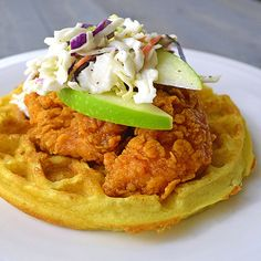 Copycat Sleepy Hollow Waffle: Sweet and Spicy Chicken and Waffles - Jason's . - Because hungry - cheese sandwich Sweet And Spicy Chicken, Spicy Chicken Recipes, Turkey Recipes, Sleepy Hollow, Waffle Recipes, Copycat Recipes, Dove Recipes, Fried Chicken And Waffles, Sandwiches