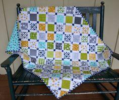 Handmade Baby Boy Quilt Nursery Quilt Green Navy by BundledUpLove