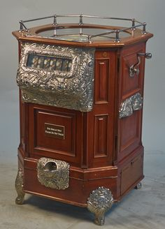 25 Cent Caille Roulette Floor Machine, an early model w/ mahogany case in working condition c1904, w/Keys. To be sold at Victorian Casino Antiques September 20th 2014