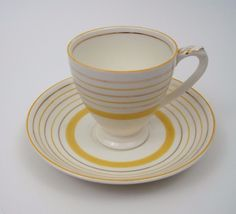 Vtg Empire Ware England Demitasse 3 oz Saucer Yellow Bands Small Teacup Espresso #EmpireWare