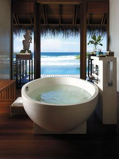 """A girl can dream . from - A """"Dream Shangri-La's Villingili Resort & Spa, Maldives is proud to have been in the category """"Dream Bathroom"""" by Fine Hotels & Resorts! The bathroom of your Jacuzzi, Dream Bathrooms, Beautiful Bathrooms, Hotel Bathrooms, Bathtub Dream, Romantic Bathrooms, Luxury Bathrooms, Master Bathrooms, Shangri La"""