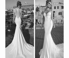 Beautiful wedding gown with a long train