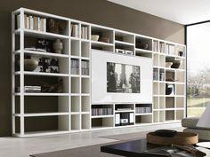 MisuraEmme. CROSSING | Librería lacada abierta con soporte para tv. Diseño de Mauro Lipparini, CRS MisuraEmme.