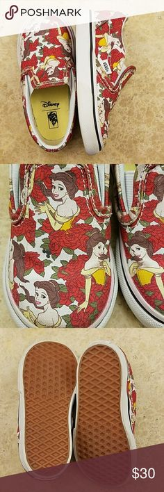 Disney Belle Vans Slip-ons Toddler size 6.5 Disney Belle Vans, slip-on type.  Toddler size 6.5.  Worn only a handful of times, indoors. Good condition and the bottoms are immaculate.  These are very hard to find! Some bleeding of the red on white rubber part (see photos). Vans Shoes Sneakers