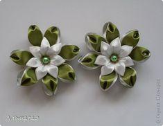 Украшение Цумами Канзаши Резиночки - цветочки Ленты фото 5