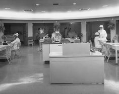 The Intensive Care Unit of the St. Paul Hospital on Harry Hines Blvd. was designed with patient care rooms arrayed around a central nurses' area.    Date Circa 1964