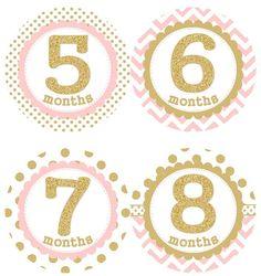 Bebé mensual hito crecimiento pegatinas Glitter oro puntos