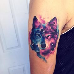 "7,605 Likes, 48 Comments - Adrian Bascur (@adrianbascur) on Instagram: ""Wolf AB #tattoo #tatuaje #space #galaxy #wolf #lobo #star #galaxia #nebulosa"""