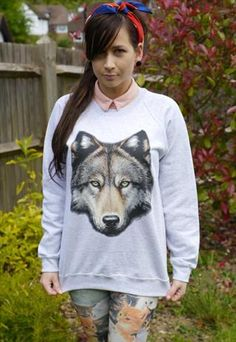 Wildlife Wolf Head Jumper, Sweatshirt, Sweater, Wolves, New
