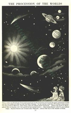 Vintage Print The Procession Of The Worlds, planets astronomy space solar system Natural History Art print. $19.99, via Etsy.