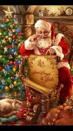 Weihnachtsmann in Illustration von Dona Gelsinger Balades comtoises Old Christmas, Old Fashioned Christmas, Christmas Scenes, Father Christmas, Vintage Christmas Cards, Christmas Images, Xmas Cards, Vintage Cards, Beautiful Christmas
