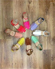 Coloured sandals.