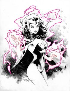 Marker, brush and Ink wash Scarlet Witch Commission Comic Book Artists, Comic Book Characters, Marvel Characters, Comic Books, Heros Comics, Marvel Heroes, Captain Marvel, Marvel Women, Scarlet Witch Comic