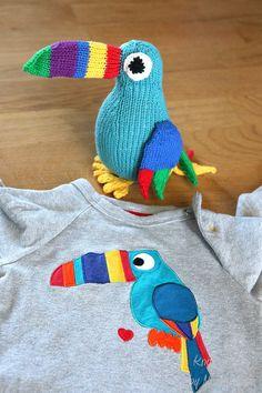 Toucan knitting pattern easy toy bird knitting by MumpitzDesign