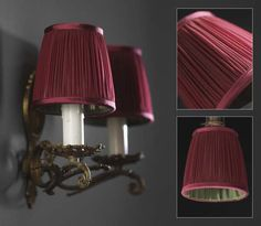 Littleton - garnet red lamp shades with contrast lining in forest green silk habotai