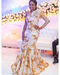 Trending Aso Ebi Lace For The Weekend Nigerian Wedding Dresses Traditional, African Traditional Wedding, Traditional Dresses, African Fashion Dresses, African Dress, Bride Reception Dresses, African Wedding Attire, Nigerian Bride, Aso Ebi Styles