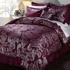 Vern Yip Home 8-piece Metallic Paisley Comforter Set Plum Silver King New #VernYip