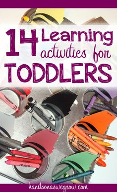 14 Learning Activities geared toward toddlers, perfect for those just learning their colors, shapes, letters and numbers.