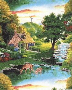 God So Loved The World - Peaceful Cottage - Leaf Green