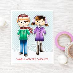 Beautiful cool colors on this Warm Winter Wishes card by Debby Hughes.