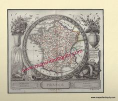 France - Antique Maps and Charts – Original, Vintage, Rare Historical Antique Maps, Charts, Prints, Reproductions of Maps and Charts of Antiquity