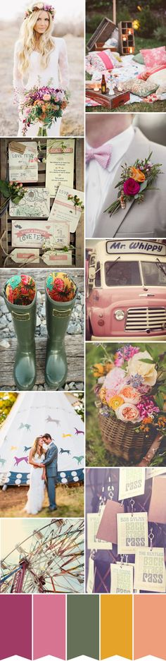 Festival Wedding Inspiration, think sleeping under the stars, dancing round the campfire and beautiful classic cars...