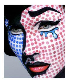 "Lichtenstein Pop Art Makeup by Eva Mueller ""Next Halloween costume for sure ; Lichtenstein Pop Art, Crazy Halloween Makeup, Crazy Makeup, Comic Book Makeup, Comic Books, Pop Art Makeup, Beauty Makeup, Fun Makeup, Beauty Nails"