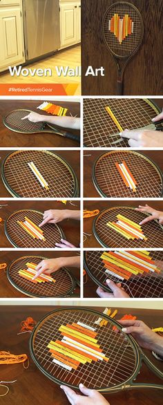 WHAT YOU NEED: A retired tennis racquet and a variety of threads.  HOW TO:   1) Find the middle of the racquet and design around that.   2) To create a heart, wrap colored threads beginning from middle column working outward, changing number of rows to create the shape.  3) Exchange out colors for a patterned look or keep simple with a solid design!   4) Wrap threads around cells of racquet, tie off with knots, and cut any excess.  5) Hang and admire.