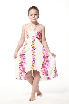 Girl Hawaiian Luau Butterfly Dress in Pink Panel