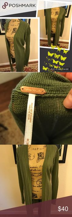 Free People split cardigan Army green side split cardigan. Never worn, excellent condition Free People Sweaters Cardigans