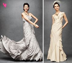 These would be glamorous dress options for a wedding at Hotel deLuxe