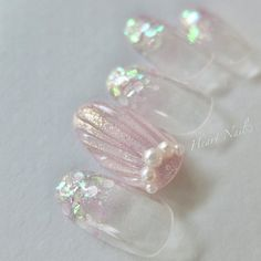 Mermaid Scales Nail Shell Nail Seashell Nail # Icing # Shell # Simple # Tropical # Clear # Summer # Sea # Resort # Travel # Pink # Gel Nail # Tip # # Nail Book Love Nails, How To Do Nails, Pretty Nails, Gorgeous Nails, Seashell Nails, Asian Nails, Bridal Nail Art, Claw Nails, Kawaii Nails