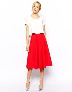 Achetez Closet - Jupe patineuse évasée en néoprène, jupe Closet pour femme sur Pickture, dans les tendances Jupe, Rouge