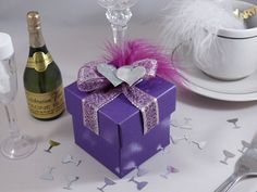Purple silk square wedding favour box with lid, silver double hearts and feather!