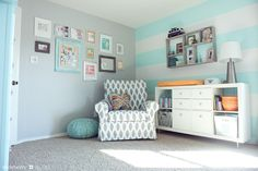 I love the colors in this room. So bright, cheery and fresh looking.  The turquoise paint is Valspar's Sprinkle.  The grey paint is Stonington Grey. styleberry_Everett's Nursery_18_web