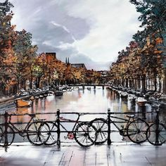 Amsterdam Moods - Spring 2013 Release by Paul Kenton Available NOW from Westover gallery 01202 297 682 Paul Kenton, A Level Art Sketchbook, Amsterdam Art, Cityscape Art, Art Folder, Fire Art, Sense Of Place, Amazing Drawings, Famous Places