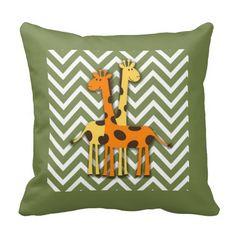 "Cute Yellow and Orange Giraffes on Green Chevron Pillow.  16""x16"" , 20""x20"", 13""x21"".  http://www.zazzle.com/littlethingsdesigns?rf=238200194340614103"