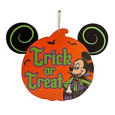 Mickey Mouse Halloween Wood Sign | Disney Store Clad in a colorful vampire costume, Mickey welcomes guests and ghosts alike to your door for tricks and treats or ''Mousequerade'' parties, all from a cut-out wooden sign that will hang around at Halloween for years to come!