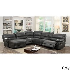 Furniture of America Merson L-Shaped Leatherette Reclining Sectional with Storage Console (Grey) (Faux Leather)
