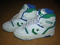 Converse ERX 200 gr/bl 1988 Vintage Sneakers, Converse Vintage, Retro Sneakers, High Top Sneakers, Converse Basketball Shoes, Tenis Basketball, Sneakers Mode, Sneakers Fashion, Converse Weapon