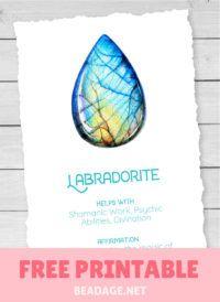 Labradorite Free Printable Gemstone Properties Card #gemstones #crystals