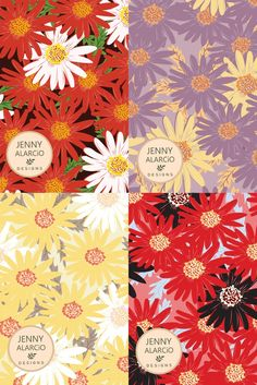 Daisy Pattern in 4 colorways Daisy Pattern, Floral Design, Royalty, Free, Patterns, Cards, Beautiful, Royals, Block Prints